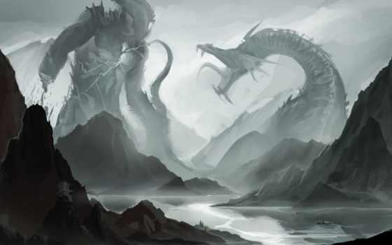 битва, monster, пасть, клыки, бой, sakimichan, река, лодка, монстров, рисунки,
