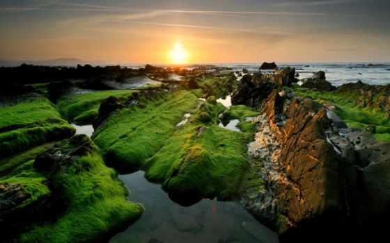 iphone, rock, природа, камень, sun, море, landscape, побережье, ipad, небо