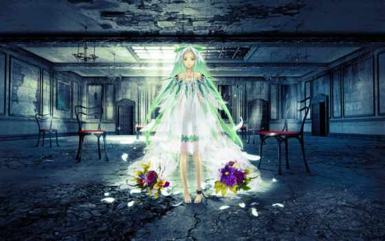 hair, flowers, , green, beatless, dress, barefoot, tattoos, snowdrop, long, redjuice, visual, ruins, frt,