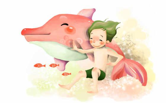 нарисованные, улыбка, радость, мальчик, рыбки