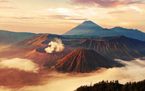 jawa, вулкан, облока, миг, wyspa, indonezja, mgła, góry,