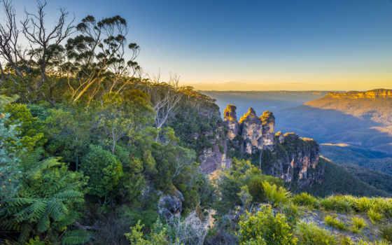 blue, mountains, горы, австралия, июл, красочных, небо, wales, new, south,