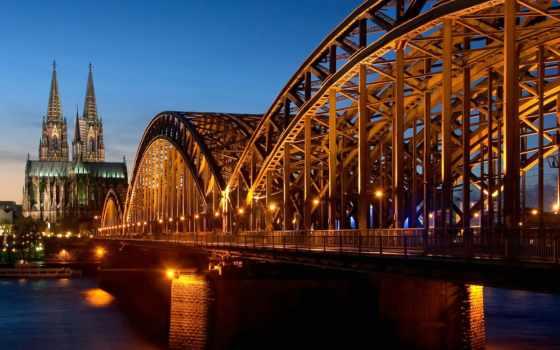 мост, мосты, glt, города, картинка, сквозь, ночь, эльбу,