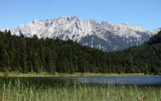 озеро, горы, двухэтажного, гаражом, проект, дома, всех, лес, высокие, массив, камыш,