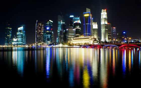 singapore, город, ночь, огни, hotel, марина, cinque, sands, zonda,