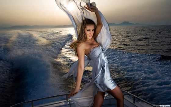петра, kobieta, morze, nemcova, jacht, pulpit, tapeta,