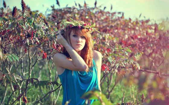 девушка, portrait, рыжеволосая, you, trees, венок, телефон, sayı, прогулка, природа, мар,