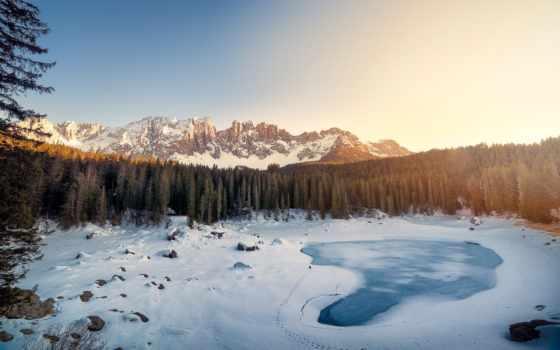 альпы, горы, winter, доломитовые, снег, italian, озеро, tyrol, картинка, south, eli,