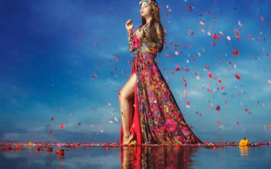 цветы, девушка, water, colorful, платье, оригинал, смена, ручной
