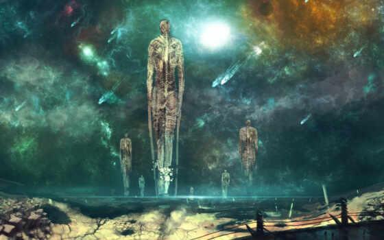 скелет, комета, арт, планета, космос, nishio, nanora, фэнтези, фантастика, вознесение, камни,