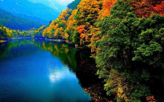осень, река, фон