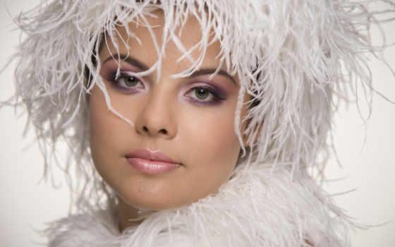 devushka, лицо, портрет, макияж, перья, красивая,