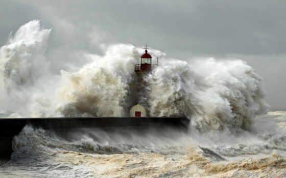 маяк, shtorm, волны, стихия, more, пейзаж, океан,