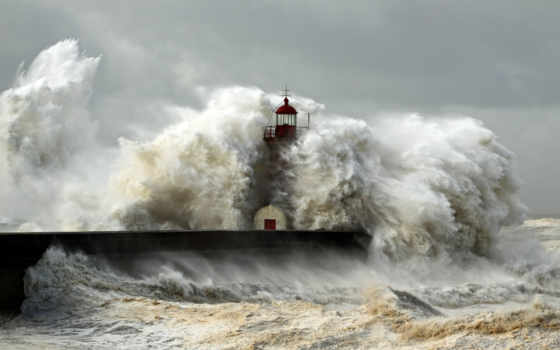 маяк, shtorm, волны