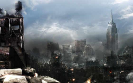 fantasy, будущего, рисунки, город, города, уничтожение,