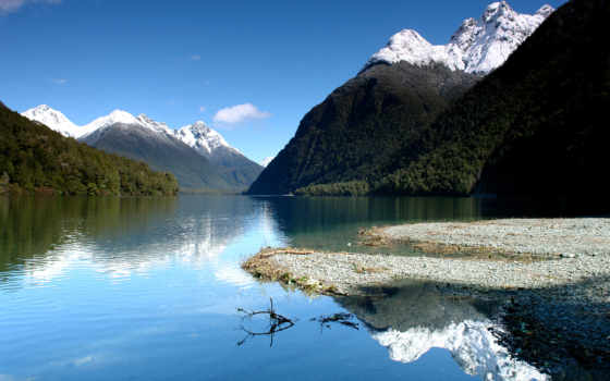 озеро, gunn, fiordland, new, lakes, zealand, mapio, milford, photos,
