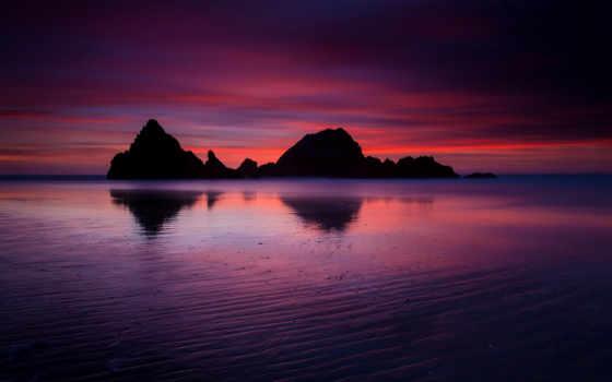 ecran, fonds, fond, californie, plage, crépuscule, ocean, unis, soir, soleil,