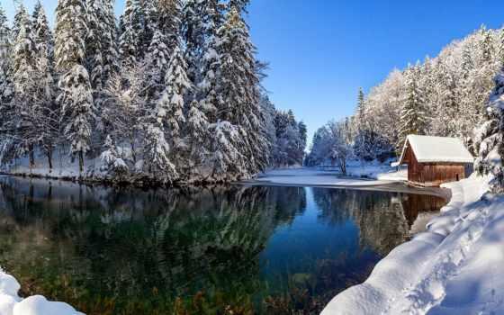 lodge, снег, озера, озеро, близко, house, winter, лес, природа,