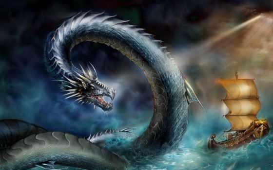 змей, море, змеи, корабль, great,
