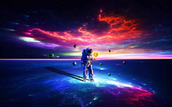 астронавт, космос, мужчина, cool, galaxy, фон, рука, god