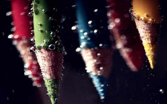 карандаши, вода