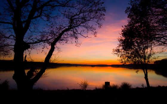 sunset, озеро