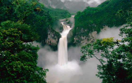 водопад, горы, лес