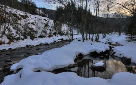 река, snowy, ручей
