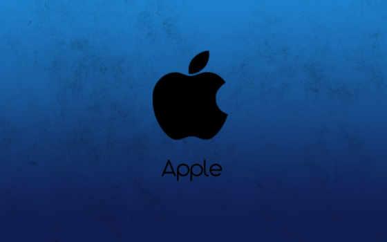 apple чёрный на синем фоне