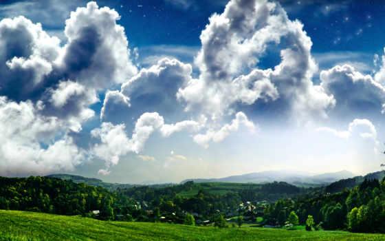 небо, oblaka, поле, красивое, красивые, trees,