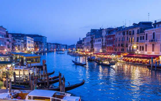 canal, grand, venice, italian, venezia, italy, канал, дома, закат, лодка,