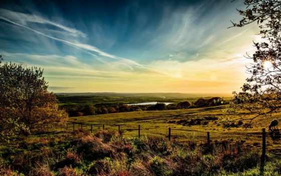 великобритания, небо, трава, oblaka, horwich, луга, природа, горизонт, hdr,