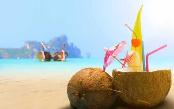 пляж, море, напиток, песок, кокосовый, коктейль,