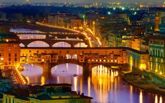 italian, картинка, телефон, ночь, italy, ponte, florence, vecchio, мост, река, дома,