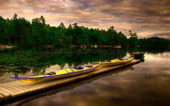 озеро, лодка, отражение, небо, desktop, trees,