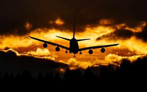 самолёт, небо, oblaka