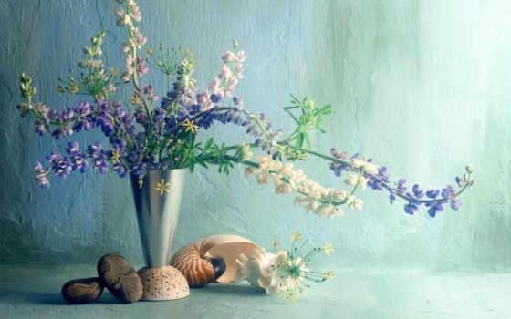цветы, люпины, ваза, букет, ракушка, bonsai, scenery, background,