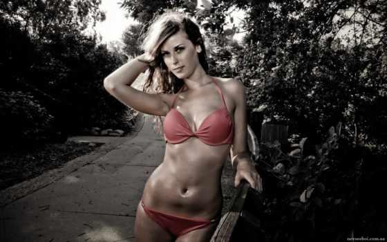 девушка в красном купальнике Фон № 62215 разрешение 1920x1200