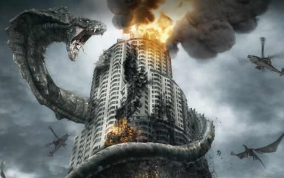 kobra, змея, гигантская, здание, огонь, вертолеты,