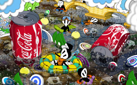 coca, cola, банка, минимализм,