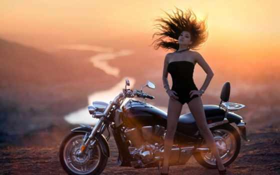 мотоциклы, мотоцикл, devushki, девушка, закат, очень, река, comments,