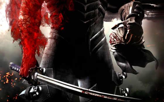 кровь, воин, красное, ninja, шлем, gaiden, меч, игры, shadow, оружие,
