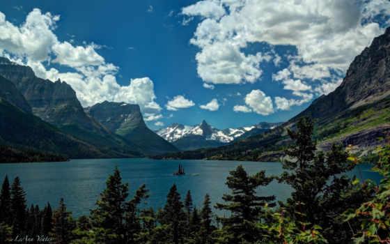 montana, glacier, national, озеро, park, санкт, скалистый,