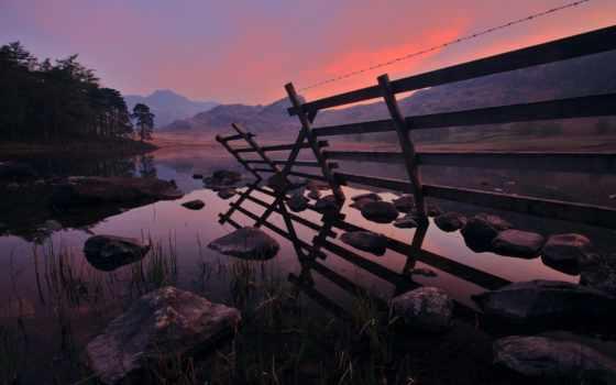 закат, landscape, горах, вечер, горы, закате, река, берег, небо, water,