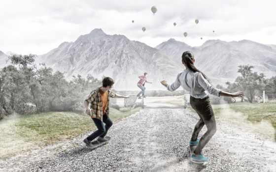 , landscape, небо, art, шары, воздушные, skateboard, девушка,