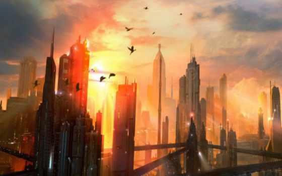 город, будущего, пейзажи -, города, закате, sun, fantasy, закат,