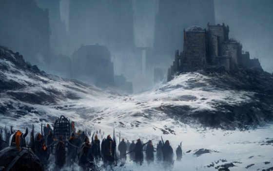 горы, снег, город, иные, fantasy, art, миры, войны,