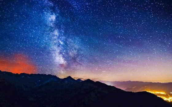 фон, млечный, mountains, путь, pict, resolutions,