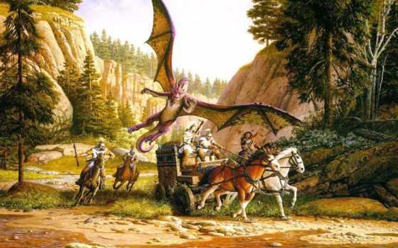 драконы, fantasy, parkinson, keith, картинку, лошади, фантастика, wagon, кит,
