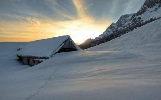 снег, кабина, winter, природа, закат, barn, гора